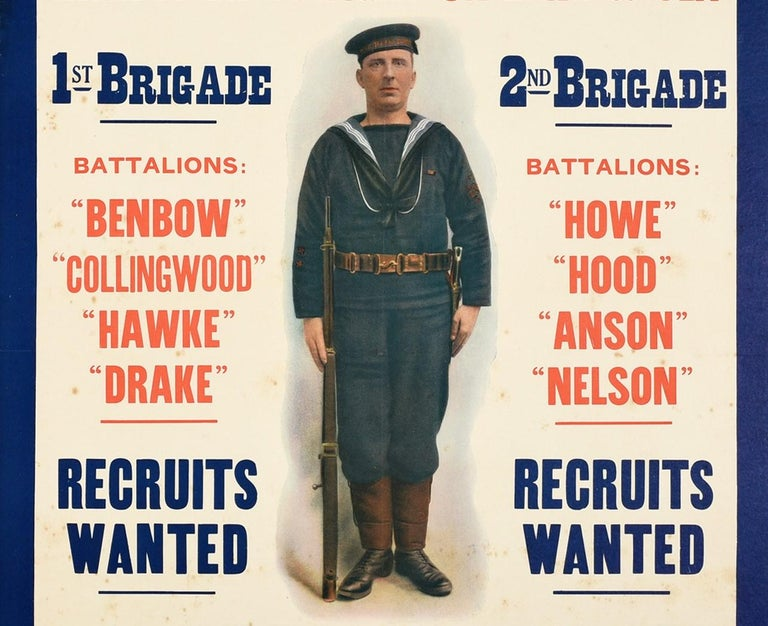 British Original Antique WWI Royal Navy Recruitment Poster Fight On Land And Sea Sailor For Sale
