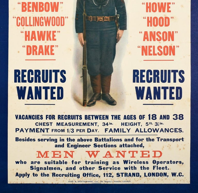 Original Antique WWI Royal Navy Recruitment Poster Fight On Land And Sea Sailor In Good Condition For Sale In London, GB