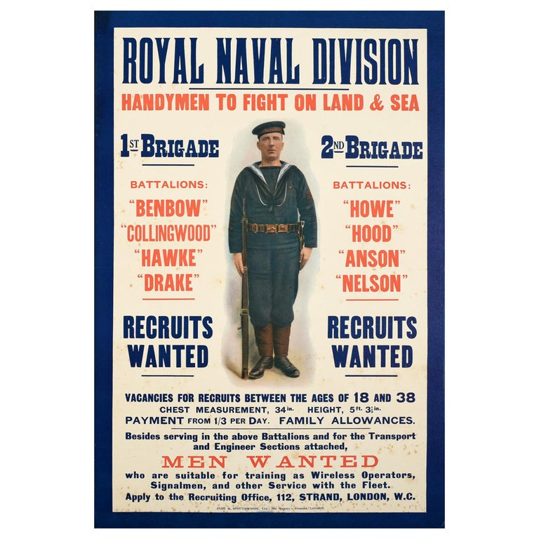 Original Antique WWI Royal Navy Recruitment Poster Fight On Land And Sea Sailor For Sale