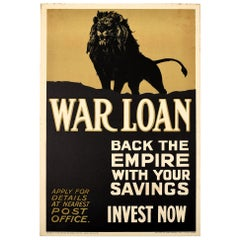 Original Antique WWI War Loan Poster Back The Empire Invest Now UK Lion Design