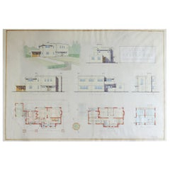 Original Architectural Drawing of Modernist House Plans, 1934