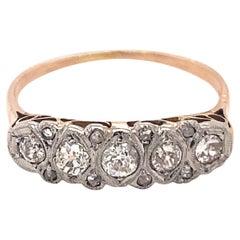 Original Art Deco 13 Diamonds Platinum 18k Yellow Gold Ring