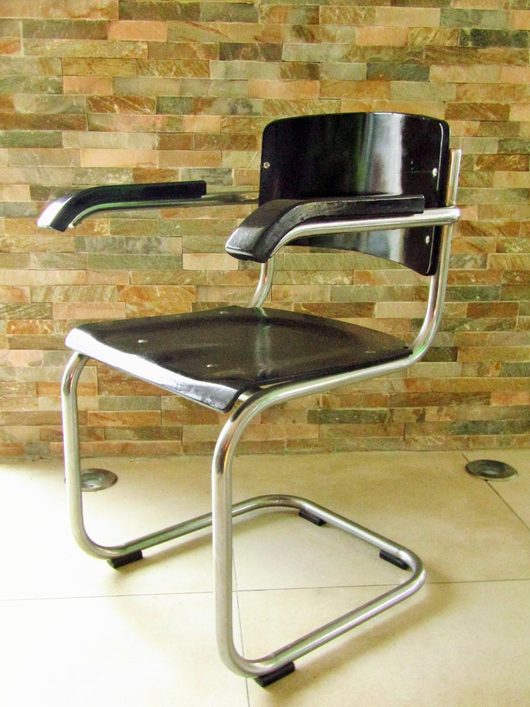 Chrome Original Art Deco Bauhaus Armchairs Breuer/ Stam 1932 For Sale