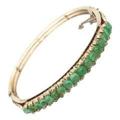 Original Art Deco Cabochon Emerald Diamonds 18K White Gold Bangle