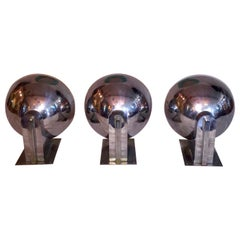 Original Art Deco Chrome-Plated Modernist Uplighters or Sconces, circa 1930s