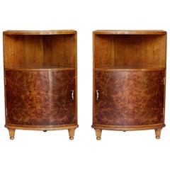 Original Art Deco Corner Cabinets Burr Walnut, French, 1920s