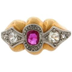 Original Art Deco Designer Ruby Diamonds Platinum 18 Karat Yellow Gold Ring