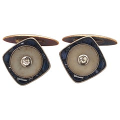 Original Art Deco Designer Sapphire Diamonds Platinum 18K Gold Cufflinks