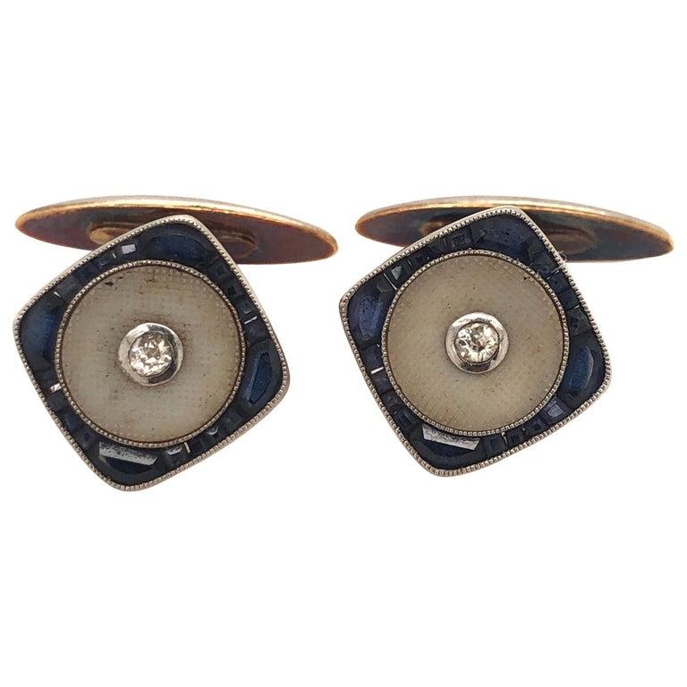 Vintage Cufflinks for Men Art Deco Gold Tone Design