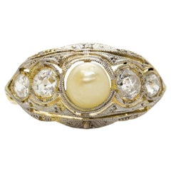 Original Art Deco Diamond and Pearl Ring