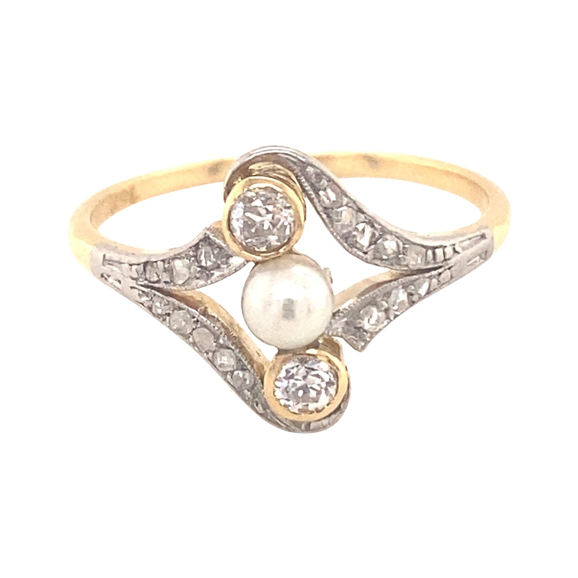 Original Art Deco Diamond Pearl Platinum 18k Yellow Gold Ring