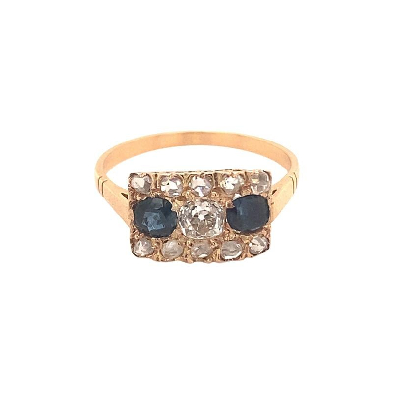 Original Art Deco Diamond Sapphire 18K Rose Gold Ring