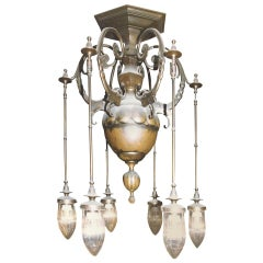 Original Art Deco Dolphine bronze Chandelier, 20th Century, 1914