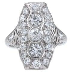 Original Art Deco European Cuts Platinum Diamond Ring, circa 1920s