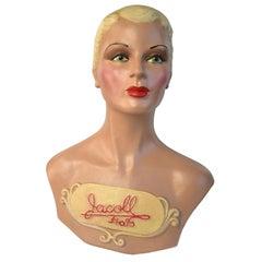 Original Art Deco Female Mannequin Bust, 1930s