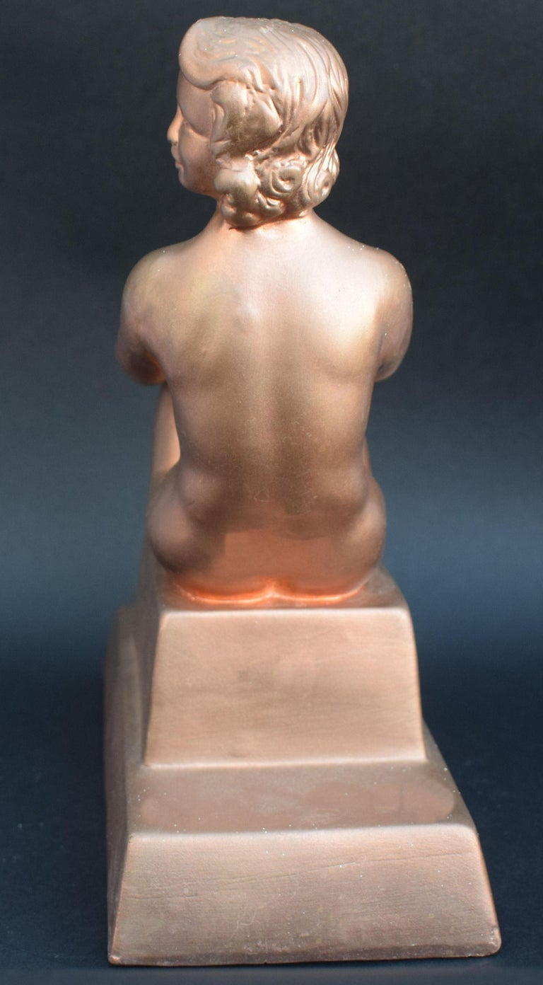 Original Art Deco Female Nude Sitting Figure, circa 1930 For Sale 1