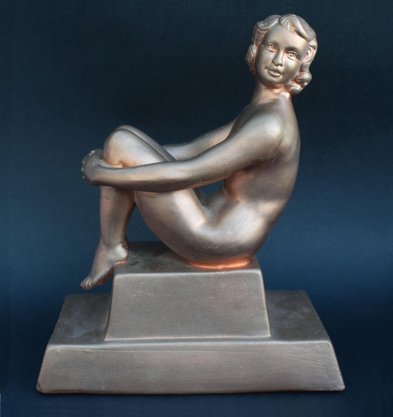 Original Art Deco Female Nude Sitting Figure, circa 1930 For Sale 3