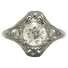 Original Art Deco Filigree Engagement Ring 1.28 Carat Diamond Antique Solitaire