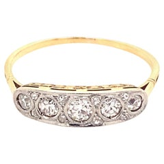 Original Art Deco Five Diamond Platinum 18k Yellow Gold Ring