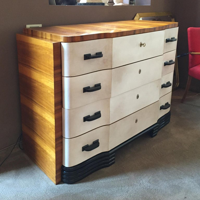 Mid-20th Century Original Art Deco French Chest of Drawers in Walnut and Parchment, 1930s