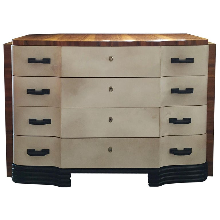 Original Art Deco French Chest of Drawers in Walnut and Parchment, 1930s