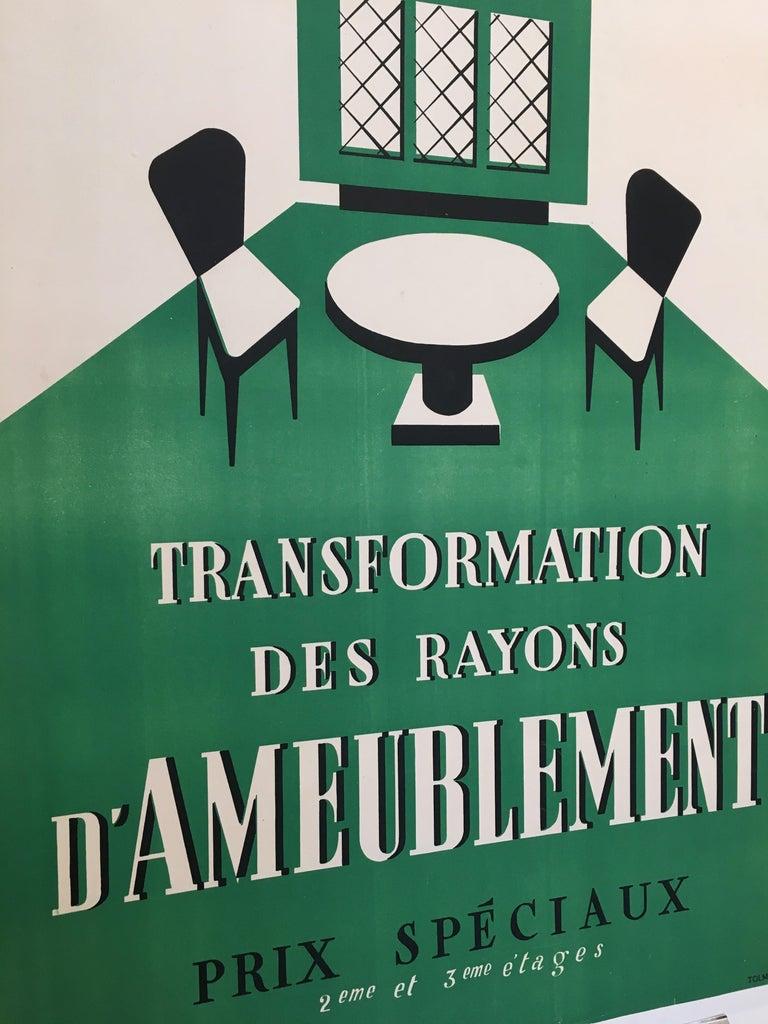 Original Art Deco furnishing department advertisement 'Au Louvre' vintage poster  Artist Anonymous  Year 1935  Dimensions 72 x 53cm  Condition Good.