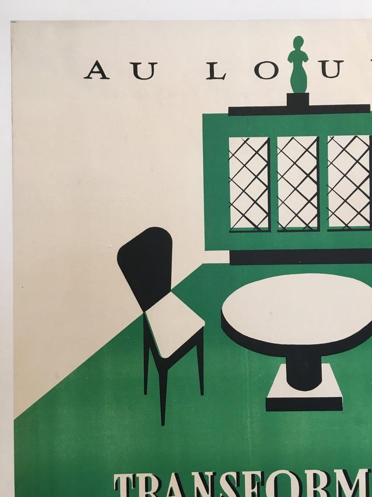 International Style Original Art Deco Furnishing Advertisement 'Au Louvre' Vintage Poster, 1935 For Sale