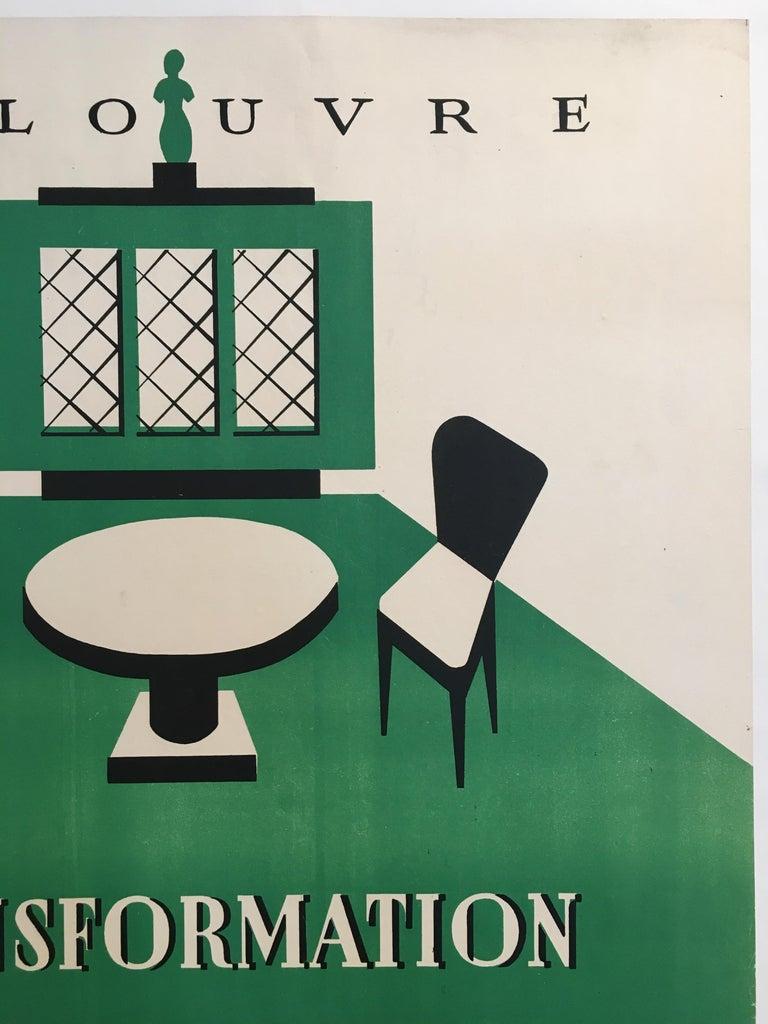 French Original Art Deco Furnishing Advertisement 'Au Louvre' Vintage Poster, 1935 For Sale