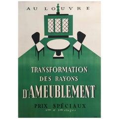 Original Art Deco Furnishing Advertisement 'Au Louvre' Vintage Poster, 1935