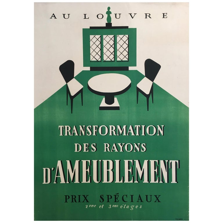 Original Art Deco Furnishing Advertisement 'Au Louvre' Vintage Poster, 1935 For Sale