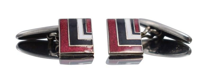 Original Art Deco Gents Geometric Enamel Cufflinks, circa 1930 In Good Condition For Sale In Westward ho, GB