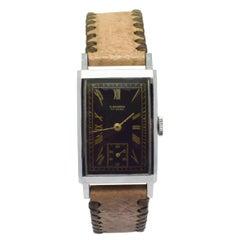 Original Art Deco Gents Tank Wristwatch Old Stock Never Worn, Made by Elixa