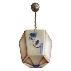 Original Art Deco Pendant from Glass & Brass w Stylized Flower & Leaf Decor 1920