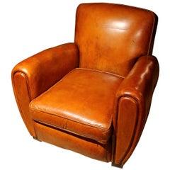 Original Art Deco Leather Club Armchair