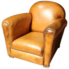 Original Art Deco Leather Club Armchair