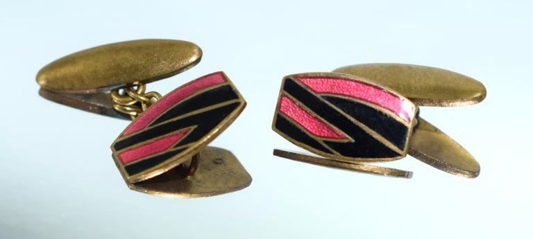 Original Art Deco Matching Gents Geometric Enamel Cufflinks, circa 1930 In Good Condition For Sale In Westward ho, GB
