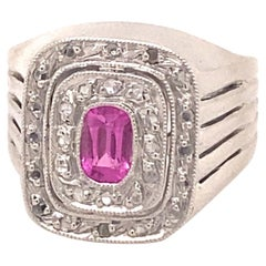 Original Art Deco Pink Tourmaline Diamonds 18K White Gold Ring
