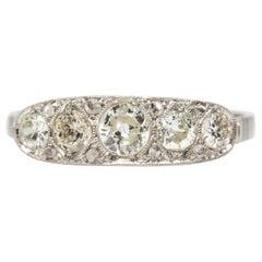 Original Art Deco Platinum Old Mine Cut Diamonds Ring