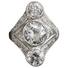 Original Art Deco Platinum Three-Stone Diamond Ring