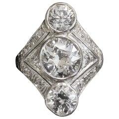 Original Art Deco Platinum Three-Stone Diamond Ring