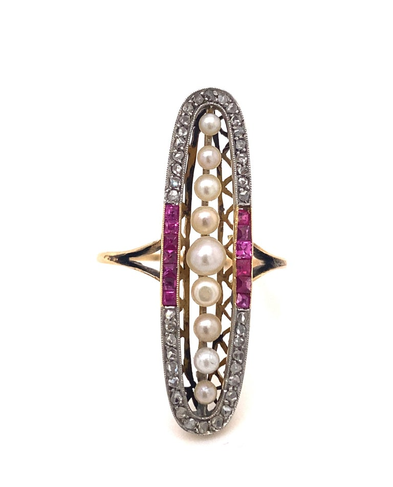 Original Art Deco Ruby Pearl Diamond Oval Shape 18K Yellow Gold Ring In Good Condition For Sale In Woodland Hills, CA