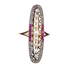 Original Art Deco Ruby Pearl Diamond Oval Shape 18K Yellow Gold Ring