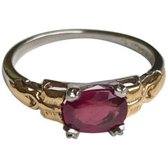 Original Art Deco Ruby Platinum 18 Karat Yellow Gold Ring