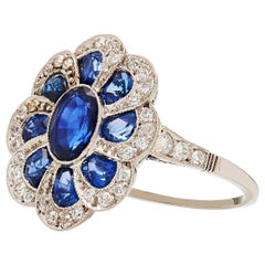Original Art Deco Style Sapphire and Diamond cocktail Ring