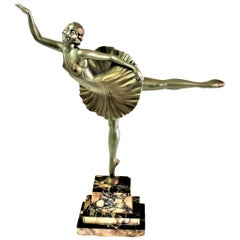 Original Art Deco Sculpture Ballerina White Metal Signed D.Alonzo