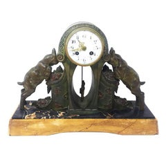Original Art Deco Table Clock in Bronze and Marble France Signed Limousin, 1930s