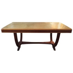 Original Art Deco Table Console in Parchment and Walnut, France, 1930s