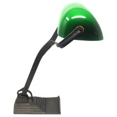 Original Art Deco Table Lamp France 1930 Green Glass and Iron Base