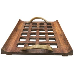 Original Art Deco Tray in Oak and Horn in the Style of Charles Dudouyt