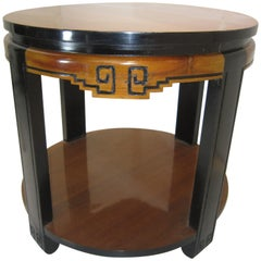 Original Art Deco Two-Tone Circular Table with Chinoiserie Design